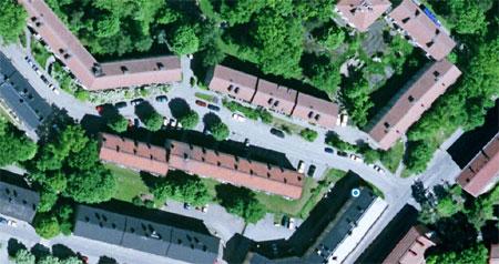 Satellitbild kvarteret Rovfågeln, Hägersten